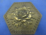 Vintage Belt Buckle Raised Rose: '75 Adezy of NYC © 1975 – Hexgon