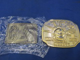 Old Gold Lights belt Buckle & Gold-Tone 100 Years of Liberty (1886-1986) Belt Buckle