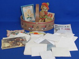 Wooden Basket with Small Gift Cards, Some Valentines & other Ephemera