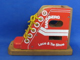 "Wood Sandberg Lace & Tie Shoe – Red & White – 8"" long – 5 3/4"" tall"