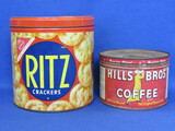 "2 Vintage Tins: Ritz Crackers & Hills Bros Coffee (Last patent date 1936) Ritz is 6"" tall"