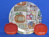 Glass Plate with Fabric Back & 2 Ceramic Pumpkin Shaped Candy Trays