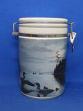 "Les Kouba Ceramic Canister with Locking Lid – Loons on a Lake – 8"" tall"