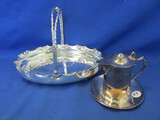 "Silver Plated Syrup Pitcher w/ Under-plate (Wallace) & Oval Mint Basket (9 ½ x 7"")"