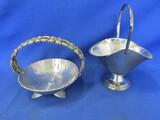 """2 Vintage Minature Metal Baskets – 4"""" Dia Aluminum & 6"""" T 4 1/2"""" L x 4"""" W Vase w'"""