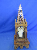 "Gothic Scroll-Saw Musical Shrine w/ Angel 17 1/2"" T x 6"" Square base5"" T Angel"