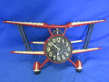 Vintage Wall-Clock – Cast metal – Painted – Red Bi-Plane – Sexton 1974 – Battery Op.
