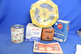 Vintage Auto Parts NOS – 3 Oil Filters, 1 Air Filter & Metal Door Lock Knobs (2)
