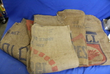 5 Printed Burlap Sacks – 3 Foot long each appx – some holes