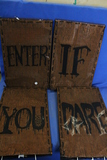 "Halloween Decor Sign- ""Enter If You Dare "" 4 Light Up Panels – Great for a Teen's room"