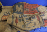 Lot of 4 Burlap Sacks w/ Advertising – Cargill Soybean Meal, Minnesota Linseed Oil Meal(x2),