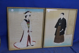 2 Framed Pieces of Asian Artwork – Painted on Cloth – Geisha's – Bamboo style frame