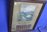 Antique 1906 Framed Calendar Page – First National Bank Austin, MN – Wood frame w/ Glass