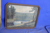 "Framed Landscape Print – Signed Melville T. Wire – Mountain Lake – 15 1/2"" x 19 1/2"""