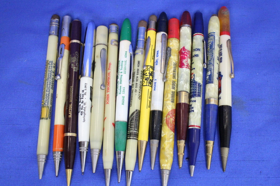 15 Vintage Mechanical Pencils w/ Great Graphics! Trucks, Animals, Buildings