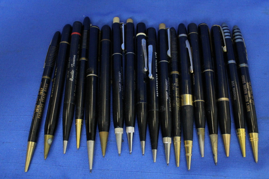 18 Vintage Black Mechanical Pencils with Gold lettering – 1950's Advertising: