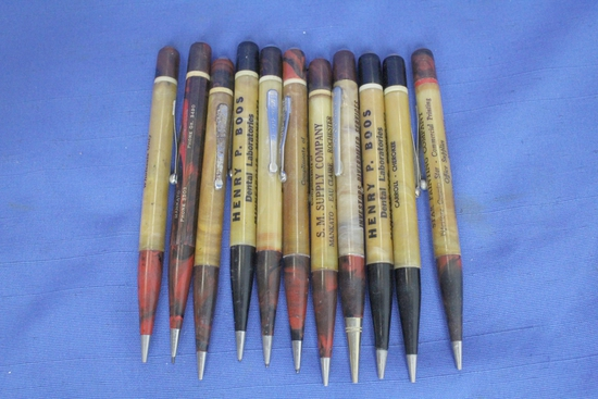 11 Vintage Coffee Colored  Mechanical Pencils with Advertising – Redipoint
