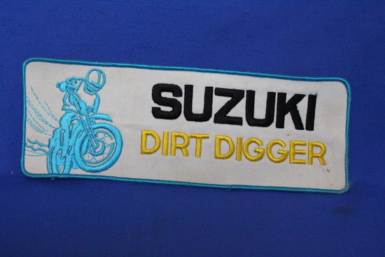 "Vintage Suzuki Dirt Digger Morotcycle Patch Appx 1 Foot Long x 3"" Tall – Very Good Cond."