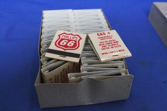 Phillips 66 Gas Station Advertising: 50 Books of Matches – NOS Cond.- Chetek, Wisc.
