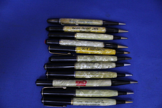 11 Vintage Pearlized Mechanical Pencils with Advertising – Very Good Cond.