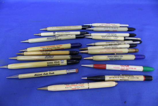 19 Vintage Advertising Mechanical Pencils – Cream Coloere w/ Assorted decorative ends