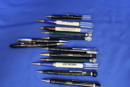 "13 Vintage Mechanical Pencils with Advertising ""gimmicks"" - All in Good condition"