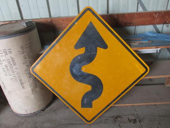 Highway Department Very Curvy Road Metal Sign