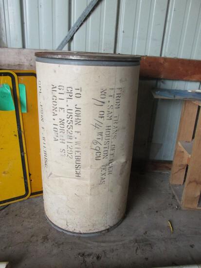 Cardboard Barrel With Metal Ends