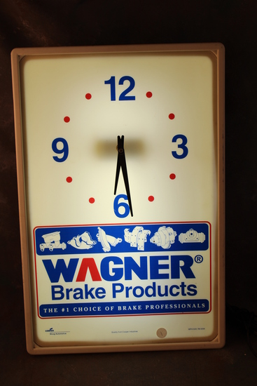 Vintage Wagner Brake Products Automotive Lighted Clock Advertising Sign