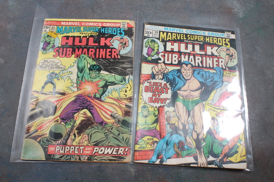 2 Vintage Marvel Comic Books 20 Cent Hulk & Sub-Mariner & 25 Cent Hulk &