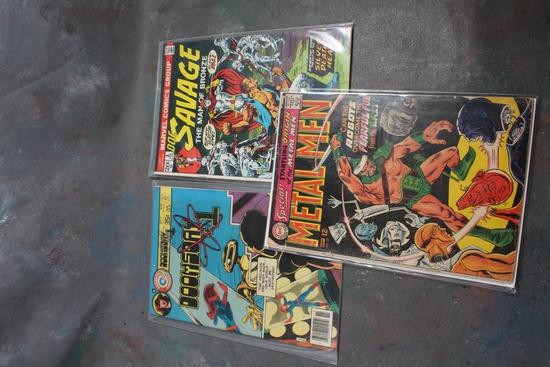 3 Vintage Comic Books DC 12 Cent Metal Men, Marvel 20 Cent Doc Savage, &
