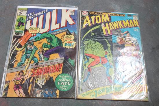 15 Cent Marvel Incredible Hulk Comic Book & 12 Cent DC Atom Hawk Man Comic