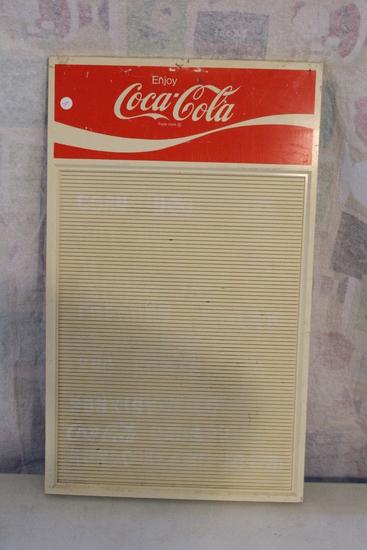 """Vintage Coca Cola Menu Board Plastic Sign Measures 28"""" x 16 1/2"""""""
