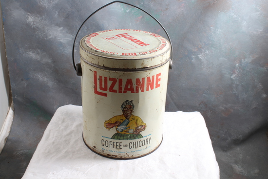 Antique Black Americana Luzianne Coffee and Chicory 3 Lb Advertising Can