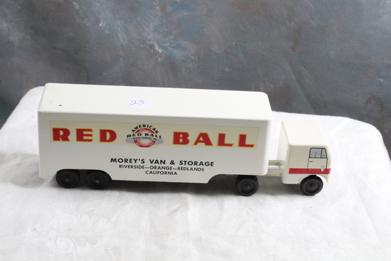 """Vintage RALSTOY Diecast RED BALL Moving & Storage Truck 8 1/2"""" Long"""
