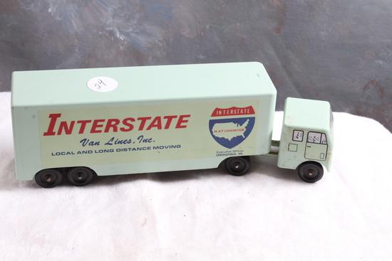 "Vintage RALSTOY Diecast INTERSTATE Van Lines Moving Storage Truck 8.5"" L"