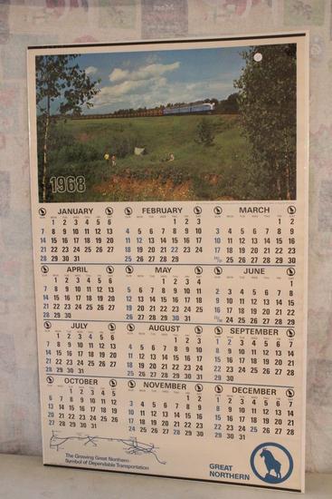 """1968 Great Northern Railway Railroad Unused Calendar 42"""" x 25"""" 200 Car Train"""