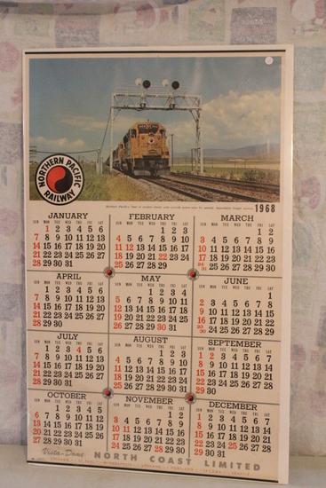"1968 Northern Pacific Railway Railroad Unused Calendar 42"" x 25"" Vista Dome"