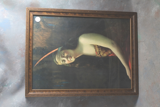 """1920's Beautiful Indian Maiden Framed Print Measures 17"""" x 13"""""""
