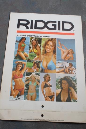 1977-1978 Ridgid Tool Company 2 Year Pin-Up Calendar Pin-Up & Tool on Each
