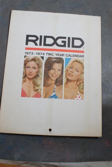 1978-1974 Ridgid Tool Company 2 Year Pin-Up Calendar Pin-Up & Tool on Each