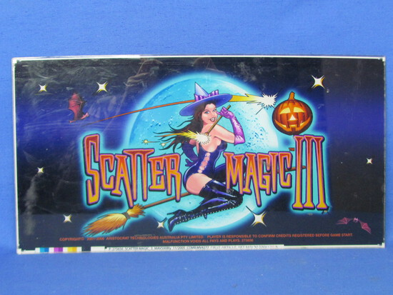 "Plexiglas Sign ""Scatter Magic III"" - Australian Video Game Sign? 17 1/2"" x9 1/4"""