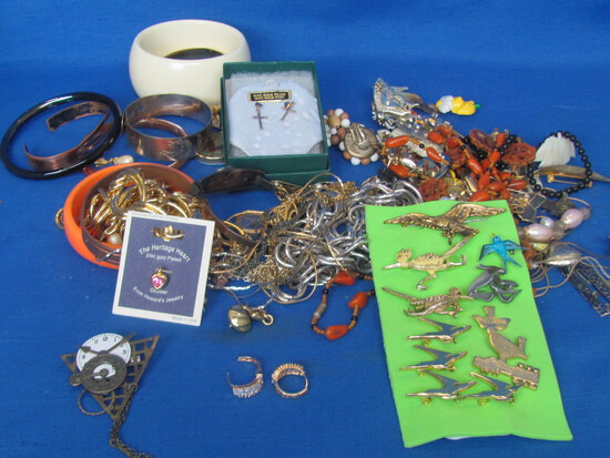 Lot of Costume Jewelry: Necklaces, Pins, Earrings, Bracelets & more