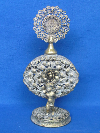 "Ornate Metal Perfume Bottle with Dabber – Floral Design with Cherubs – 7 1/2"" tall"