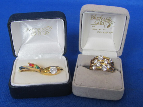 3 Costume Rings: 2 are 18 Kt Gold Filled – Sizes 6 to 8.5