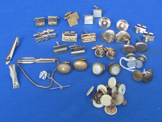 Mixed Lot of Cufflinks & Tie Clasps – Some Vintage Celluloid Covered
