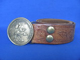 "Tooled Leather Belt with Brass Buckle ""Mickey Mouse 1937 Hollywood Cal. USA"""