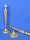 2 Broken Sterling Silver Candlesticks – Weighted w Cement