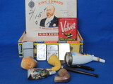 Parts of Smoking Pipes, 4 Lighters, Velvet Tobacco Tin all in Cigar Box