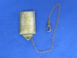 "Pocket Watch Chain with Fob – Marked ""French Silver Plate"" - Total length is 8 3/4"""